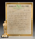 General Americana: , A 1935 Best Picture of the Year Oscar Statuette Award for ItHappened One Night with Columbian Art Metal Works Doc...(Total: 2 Items)