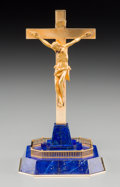 Decorative Arts, French:Other , A Cased Cartier 18K Gold and Lapis Lazuli Crucifix, 20th century.Marks: CARTIER, 18K, 1344. 6-1/2 h x 3-1/2 w x 3-1/2 d...