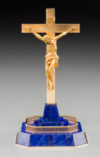 A Cased Cartier 18K Gold and Lapis Lazuli Crucifix, 20th century Marks: CARTIER, 18K, 1344 6-1/2 h x