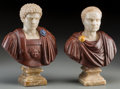 Decorative Arts, Continental:Other , A Pair of Vari-Colored Marble Busts of Roman Emperors. 9-1/4 incheshigh (23.5 cm) (each). ... (Total: 2 Items)