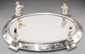 Silver Holloware, Continental:Holloware, A Silver-Plated, Cut-Glass, and Porcelain Surtout de Table MirroredPlateau. 6-3/8 h x 23-3/8 w x 16 d inches (16.2 x 59.4 x...