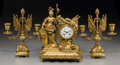 Timepieces:Clocks, A Three-Piece French Gilt Bronze Figural Athena Clock Garniture,late 19th-early 20th century. Marks to face: (effaced), A...(Total: 3 Items)