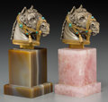 Decorative Arts, Continental:Other , Two Partial Gilt Silver Horse Heads on Rose Quartz and Agate Bases.Marks: STERLING, ITALY, (effaced), 925. 5 inches...(Total: 2 Items)