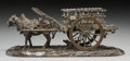 Bronze:European, A Russian Bronze of a Horse and Cart in the Style of Lansere. 4 h x9-7/8 w x 3-5/8 d inches (10.2 x 25.1 x 9.2 cm). ...