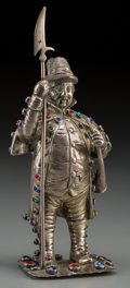 Silver Holloware, Continental:Holloware, A Continental Silver and Paste Cabochon-Mounted Figure of aPikesman. Marks: (rubbed). 7-5/8 inches high (19.4 cm). 9.66 tro...