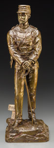 Bronze:European, A Bronze Figure of a French Soldier after Charles Anfrie: OnVeille. Marks: C. Anfrie, On Vielle. 23-1/2 inches ...