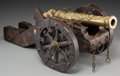 Other, An Iron and Brass Cannon Model. 8-1/4 h x 22 w x 10-1/2 d inches (21.0 x 55.9 x 26.7 cm). ...