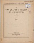 "Books:Science & Technology, N[iels] Bohr. On the Quantum Theory of Line-Spectra. København: Bianco Lunos, 1918-1922. First edition, ""Separate Co... (Total: 3 Items)"