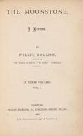 "Books:Mystery & Detective Fiction, Wilkie Collins. The Moonstone. London: Tinsley Brothers,1868. First edition, with misprint of ""treachesrouly"" on pa..."