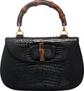 "Luxury Accessories:Bags, Gucci Shiny Black Crocodile Bamboo Top Handle Bag. Good to VeryGood Condition. 10.5"" Width x 7"" Height x 3"" Depth. ..."