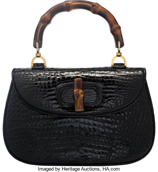 af2a2d8f60de Good to; Luxury Accessories:Bags, Gucci Shiny Black Crocodile Bamboo Top  Handle Bag.
