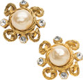 "Luxury Accessories:Accessories, Chanel Gold, Glass Pearl & Silver Crystal Earrings. VeryGood Condition. 1"" Width x 1"" Length. ..."