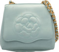 "Luxury Accessories:Bags, Chanel Blue Satin Camellia Evening Bag. Good Condition. 5.5""Width x 5"" Height x 2"" Depth. ..."
