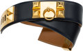 "Luxury Accessories:Accessories, Hermes 70cm Blue Marine Calf Box Leather Belt with Gold Hardware. V Circle, 1992. Very Good Condition. 2"" Width x 27.5"" Le..."