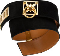 Hermes 70cm Black Veau Doblis Suede Belt with Gold Hardware D Circle, 1974 Good to Very Good Condition 2""
