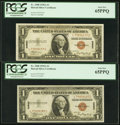 Small Size:World War II Emergency Notes, Fr. 2300 $1 1935A Hawaii Silver Certificates. Two Examples. PCGS Gem New 65PPQ.. ... (Total: 2 notes)