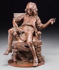 Sculpture, After Adrien Etienne Gaudez (French). Jean-Baptiste Poquelin (Moliere), Tapissier. Bronze with brown patina. 14-1/2 inch...