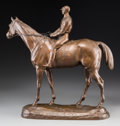 Sculpture, Paul Comolera (French, 1818-1897). Racehorse and Jockey/ Jockey sur son Cheval. Bronze with brown patina. 18-7/8 inches ...