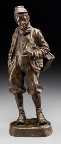 Sculpture, After Jose Cardona (Spanish). Youth. Bronze with brown patina. 16 inches (40.6 cm) high. Inscribed on base: J. Cardona...