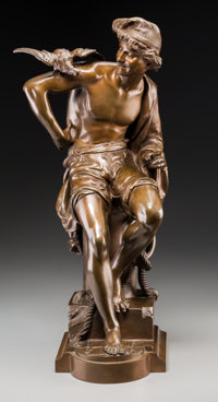 Charles Brunin (Belgian, 1841-1887) Neapolitan Fisherman Bronze with brown patina 24 inches (61.0