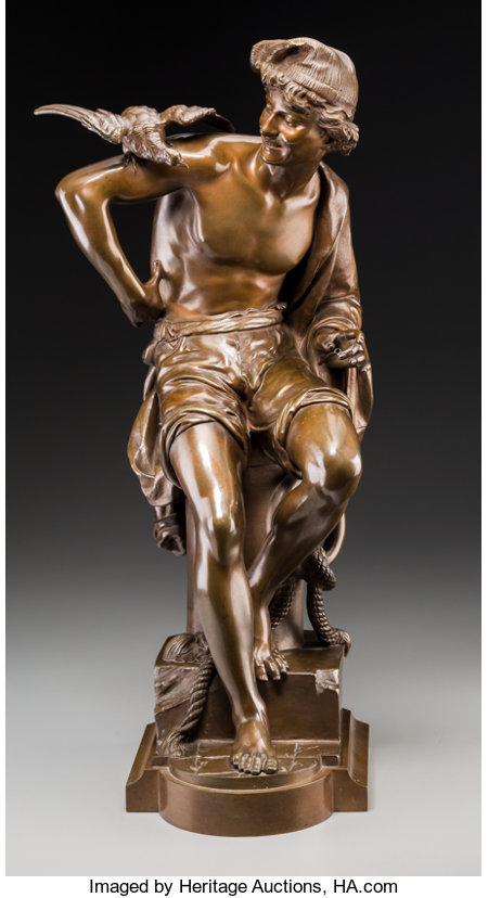 Charles Brunin (Belgian, 1841-1887) Neapolitan Fisherman Bronze with brown patina 24 inches (61.0 cm) high Inscribed...
