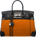 Luxury Accessories:Bags, Hermes Limited Edition 35cm Black Calf Box Leather & Orange HPotomas Canvas Birkin bag with Palladium Hardware. JSquare,...