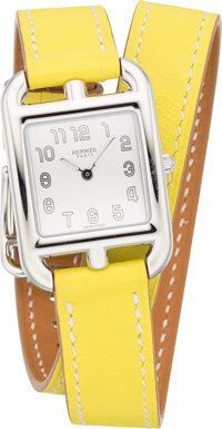 Hermes Stainless Steel Cape Cod Double Tour PM Watch with Lime Swift Leather Band T, 2015 Pristin