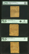 Colonial Notes:Mixed Colonies, Three Early Colonial Notes DE-68 Delaware June 1, 1759 20s PMG Very Fine 25 Net, Pennsylvania PA-87 July 1, 1757 15s PCGS Fine... (Total: 3 notes)