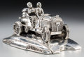 Decorative Arts, Continental:Other , A Silvered Automobile Inkwell. 5 h x 9-3/4 w x 5-1/8 d inches (12.7x 24.8 x 13.0 cm). Property from the Estate of Charles...