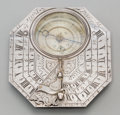 Decorative Arts, Continental:Other , A Rare Nicolas Bion Silver Butterfield Navigational Pocket Dial,Paris, France, circa 1685-1715. Marks: N Bion A Paris. ...