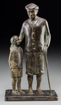 Bronze:Contemporary, 20th Century School . Golfer and Son, 1978. Bronze withbrown patina. 12 inches (30.5 cm) high. Inscribed on base: B....