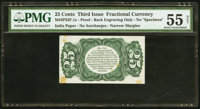 Milton 3P25F.1e 25¢ Third Issue Dismounted Bristol Board Proof PMG About Uncirculated 55 Net