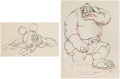 Animation Art:Production Drawing, Brave Little Tailor Mickey Mouse and the Giant Animation Drawings Group of 2 (Walt Disney, 1938). ... (Total: 2 )