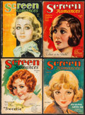 """Movie Posters:Miscellaneous, Screen Romances (Dell Publishing, 1929 - 1931). Magazines (4) (Multiple Pages, 8.5"""" X 11.5""""). Miscellaneous.. ... (Total: 4 Items)"""