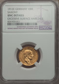 German States:Saxony, German States: Saxony. Friedrich August III gold 10 Mark 1912-E UNC Details (Excessive Surface Hairlines) NGC,...