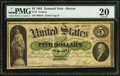 Large Size:Demand Notes, Fr. 3 $5 1861 Demand Note PMG Very Fine 20.. ...