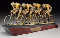 A French Art Deco Cycling Trophy: Robert Challenge, circa 1930 11-3/4 h x 24-1/2