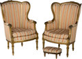 Furniture : French, A Pair of Louis XVI-Style Carved and Giltwood Bergeres a Oreilleswith Tabouret, late 19th-early 20th century. Labels to und...(Total: 3 Items)