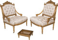 Furniture , A Pair of Louis XVI-Style Giltwood Slipper Chairs with Caned Tabouret, early 20th century. 34 h x 26-1/2 w x 22-1/4 d inches... (Total: 2 Items)