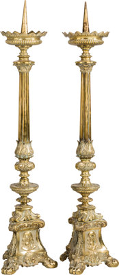 A Pair of Brass Renaissance-Style Prickets 30-3/4 inches high (78.1 cm)