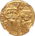 Ancients:Byzantine, Ancients: Constans II Pogonatus (AD 641-668), with Constantine IV,Heraclius and Tiberius. AV solidus (4.48 gm). NGC Choice MS 5/5 -5/5...