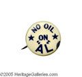 """Political:Pinback Buttons (1896-present), Rare and Popular 7/8"""" Al Smith Button Relating to the Teapot Dome Oil Scandal. Possibly a 1924 """"hopeful"""" button, or possibly..."""
