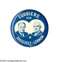 """Political:Pinback Buttons (1896-present), Key 1932 Franklin Roosevelt """"Coat-tail"""" Jugate Button Rarity. So designated because they represent an effort by state or loc..."""