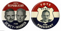 """Political:Posters & Broadsides (1896-present), Two Choice 9"""" Philadelphia Badge Thomas Dewey Buttons from 1948.For clarity of design and richness of red, white, and blue ..."""