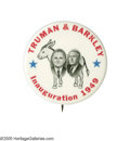 "Political:Pinback Buttons (1896-present), The Most Sought-After 1948 Truman & Barkley Jugate in FlawlessCondition. This marvelous 2 1/4"" design, with the candidates ..."