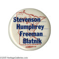 Political:Pinback Buttons (1896-present), Key Minnesota Coat-Tail Rarity, With Adlai Stevenson and HubertHumphrey. The first example we can recall having handled of ...