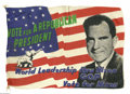 Political:Textile Display (1896-present), Great 1960 Richard Nixon Silk Campaign Flag. Political campaignflags were long an American tradition, with examples in vary...