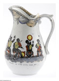 Antiques:Black Americana, Black Minstrel Band Transfer Pitcher Elaborately handpainted onthis English ironstone pitcher is a Black Minstrel band. The...