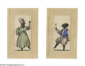 Antiques:Black Americana, Delightful Pair of Early Watercolors of African-American Slaves.These miniatures are probably c. 1850, and are mounted on o...
