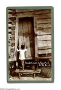"Antiques:Black Americana, Mounted Photograph of Black Child, 5.25"" x 8.5"", of a half-nakedblack child knocking at a door of a ramshackle cabin bearin..."